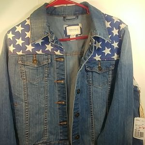 NWT Forever 21 USA Flag Denim Jacket M